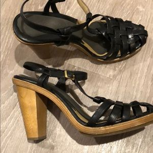 Michael kors wooden heels with leather upper